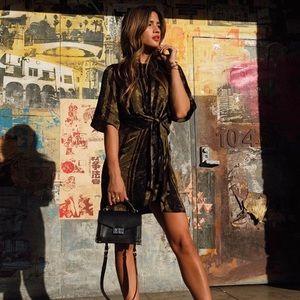 Like new Zara olive green + black dress - Sz Small